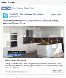 Surrey Interiors Facebook Advert