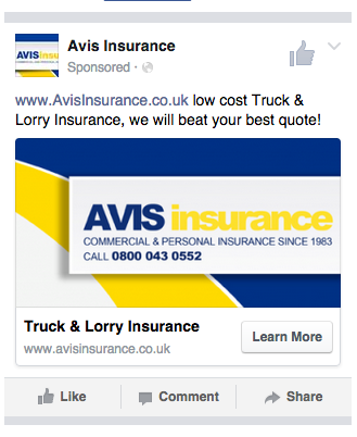 Avis Insurance Facebook Adverts