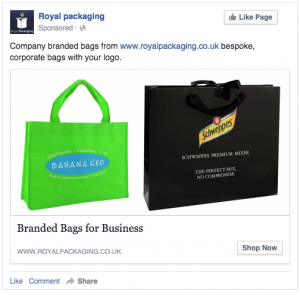 Royal Packaging Facebook Adverts