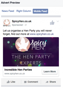 Spicy Hen Facebook Adverts