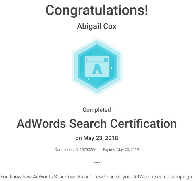 Abi Adwords Certificate
