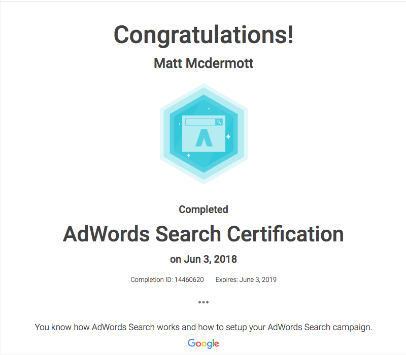 Matt M Adwords Certificate