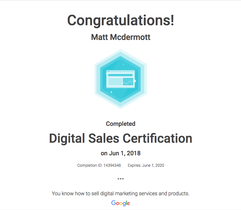 Matt M Digital Sales Certification