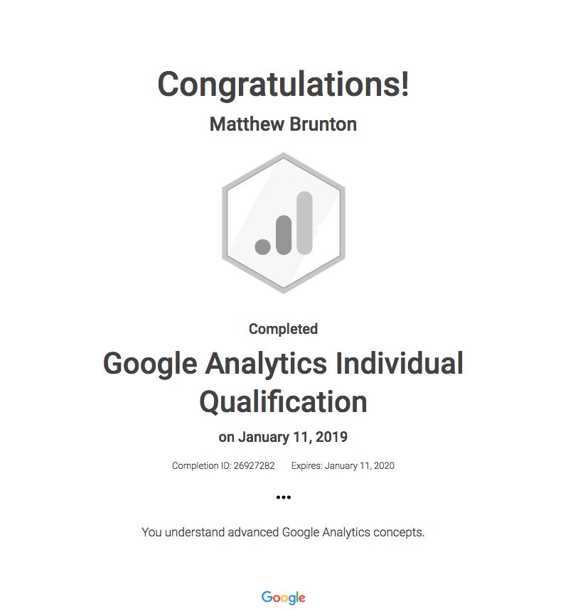 Analytics Certificate
