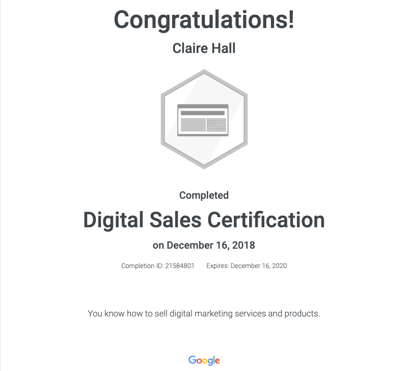Sales Certificate