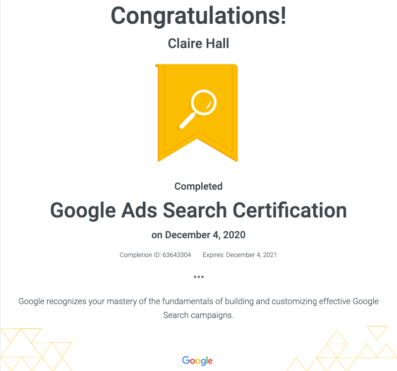 Search Certificate