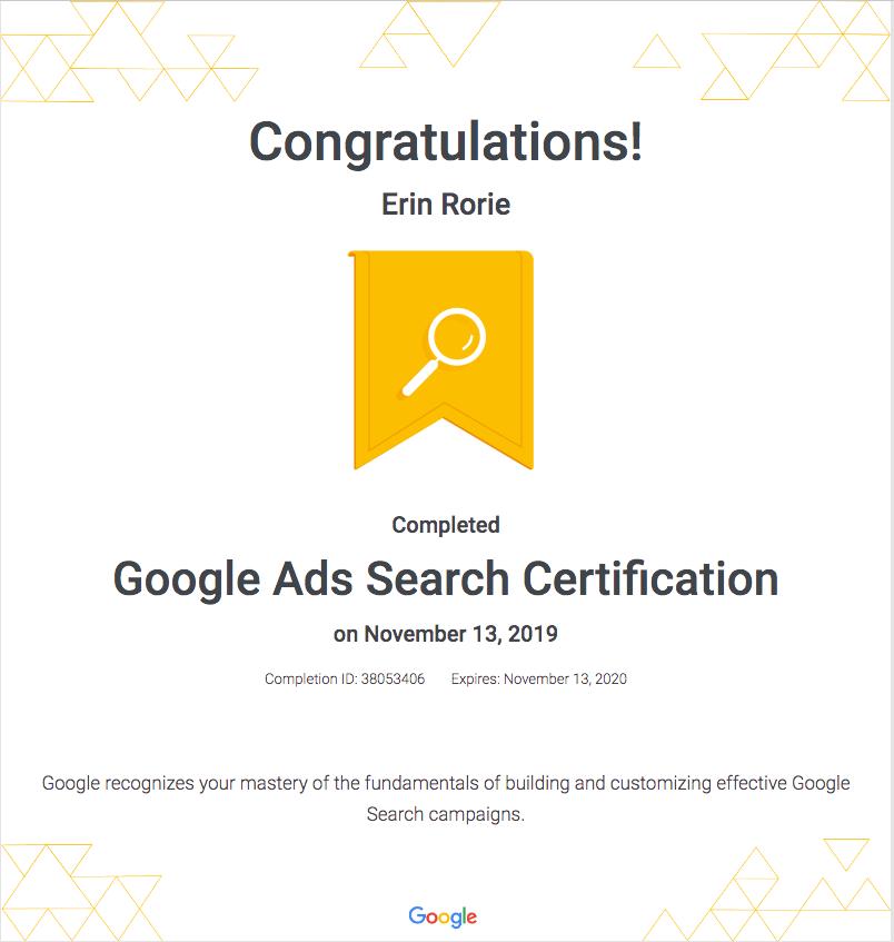 Erin Google Search Certificate