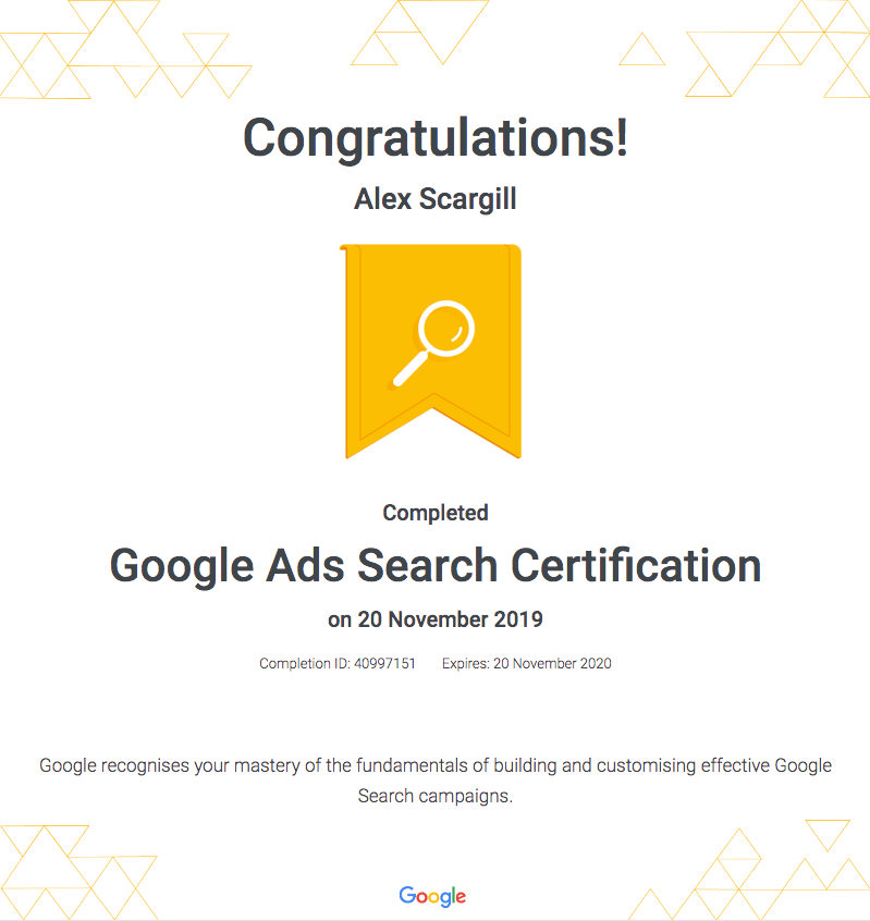 Alex Google Search Certificate